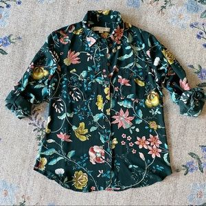 S LOFT tab sleeved floral blouse teal green peony